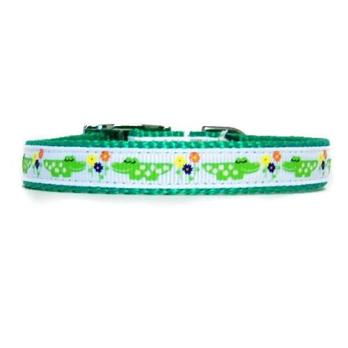 Smiling alligator printed lime green decorative pet collar for dogs and cats.