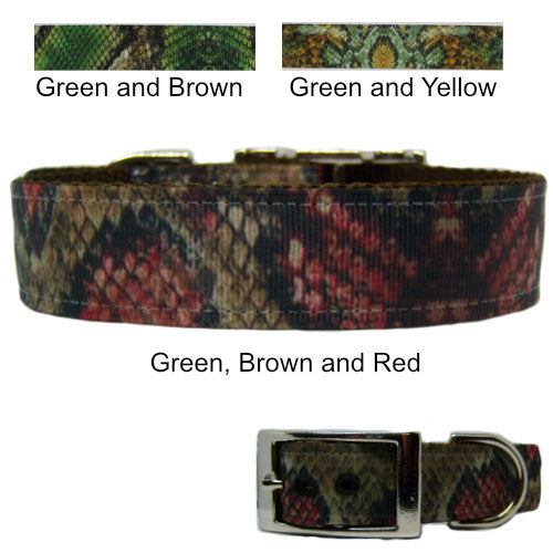 Printed Snakeskin dog collar , 1 inch wide for medium to large dogs