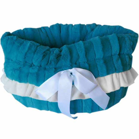 Snuggle bed pet carrier aqua