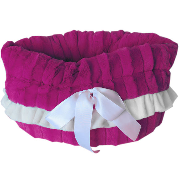 Snuggle bed pet carrier magenta