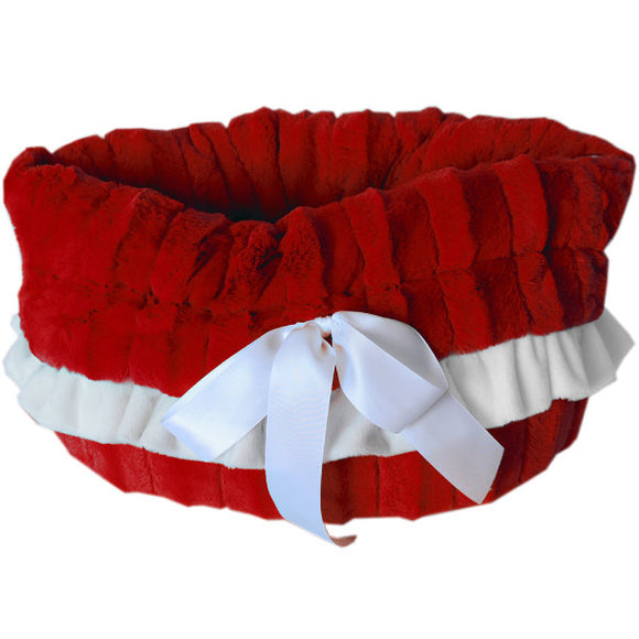 Snuggle bed pet carrier in red