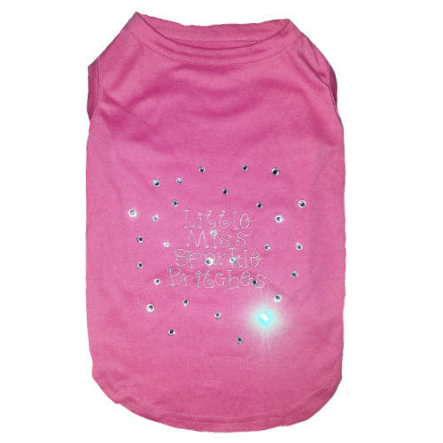 Hot pink dog shirt embroidered with little miss sparkle britches for girl dogs