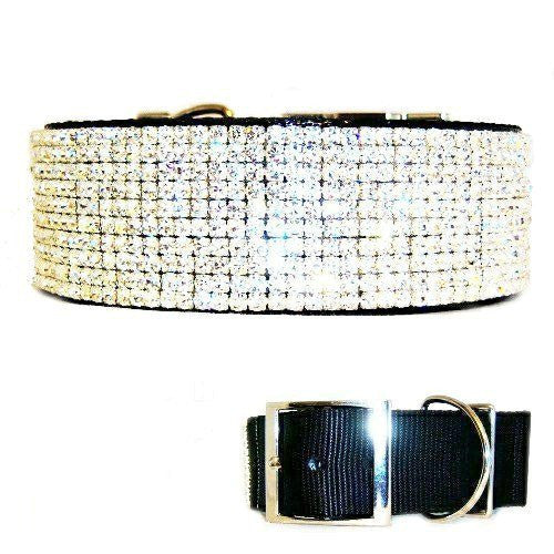 Fancy large dog collar 2 inch wide with clear crystals to look like diamonds.