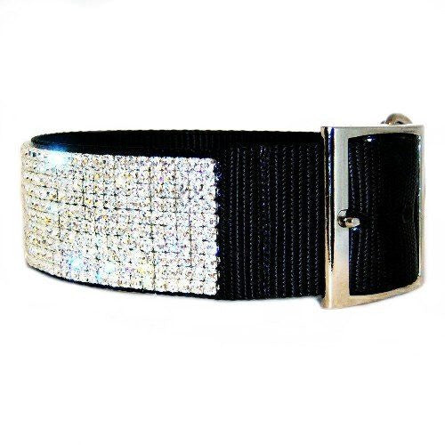 Sparkle diamonds dog collar side view.