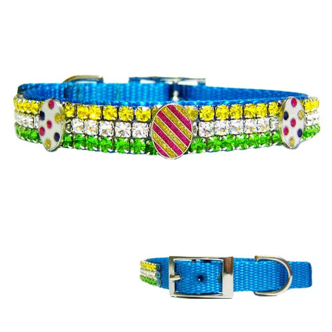 Sparkly Eggs Easter dog collar in spring colors
