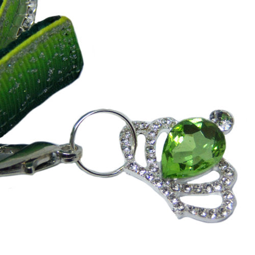 Green crystal crown charm
