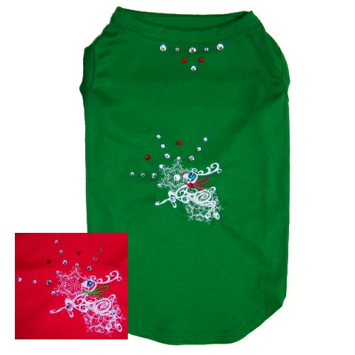 Christmas Dog Shirt - Fancy Crystal Reindeer - Small to Medium Dogs - dog-collar-fancy