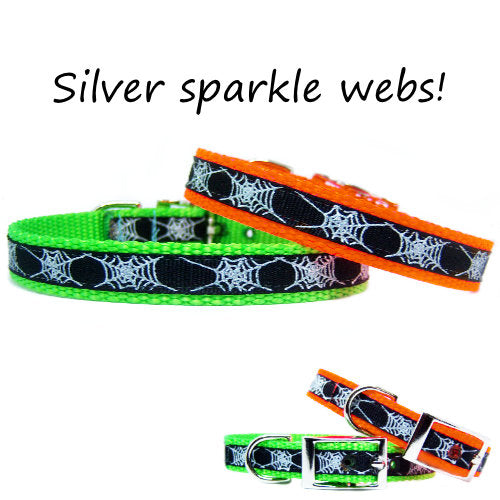 Halloween Pet Collar with Sparkly Webs - dog-collar-fancy