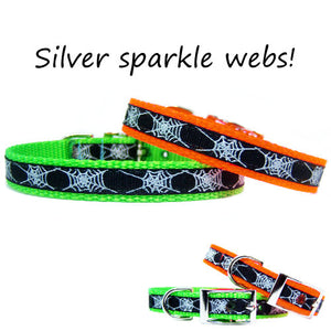 Halloween pet collar with sparkly spider webs