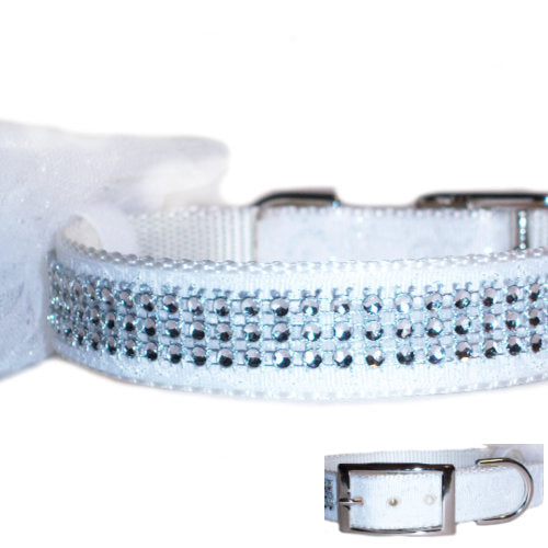 The White Wedding Dog Collar - For medium to large dogs - dog-collar-fancy