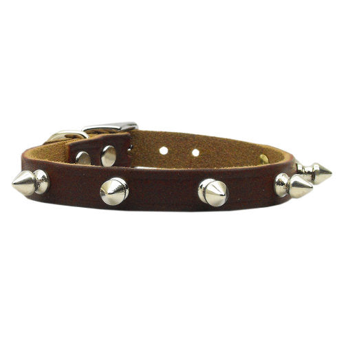 Spiked Leather Pet Collar in brown