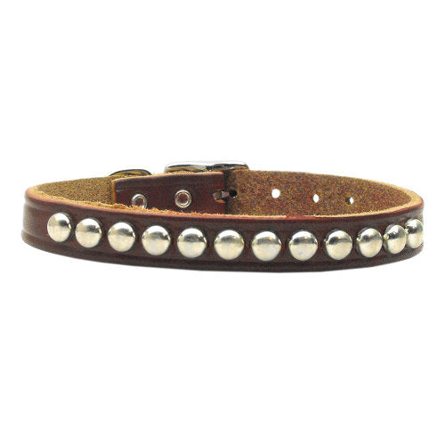 Studded Leather Pet Collar in burgundy