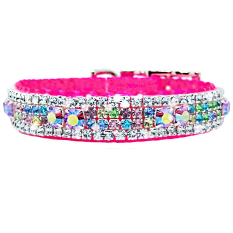 Spoiled Rotten Pink Crystal Pet Collar - dog-collar-fancy