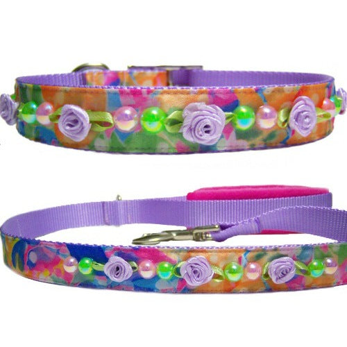 Fresh Spring Dog Collar and Leash Set - For dogs and cats - dog-collar-fancy