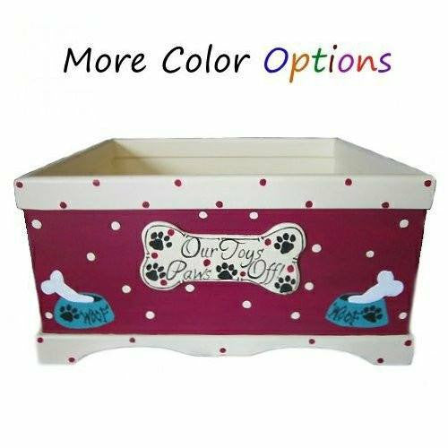 A personalized dog toy box custom made for your dog.