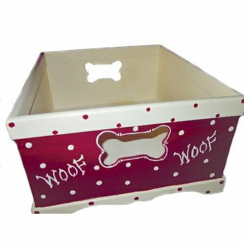 Square dog toy box side.