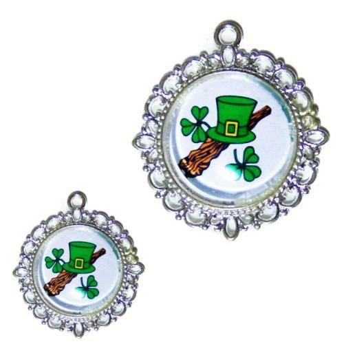 St Patrick's Day Dog Tag Hat and Clovers - pet charm - dog-collar-fancy