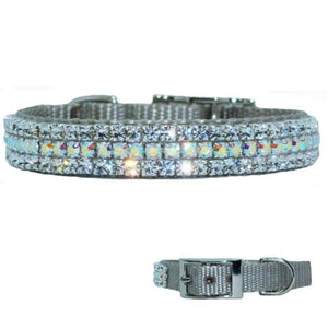 Silver gray collar with clear and aurora borealis crystals