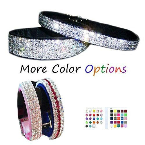 A luxury velvet and crystal dog collar custom made in your choice of colors.
