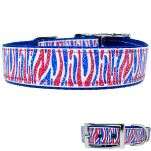 Sparkly patriotic dog collar in red white and blue