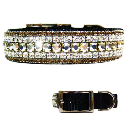 Silver brown and clear crystal gorgeous sparkly collar for dogs.