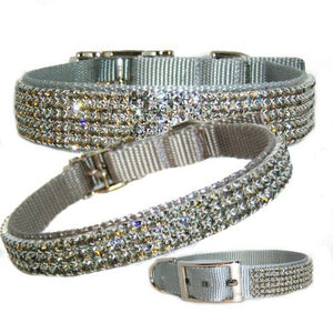 Sterling Silver Swish Jeweled Pet Collar - For dogs and cats - dog-collar-fancy