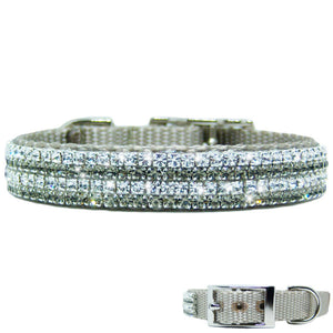 Black diamond and clear crystal pet collar