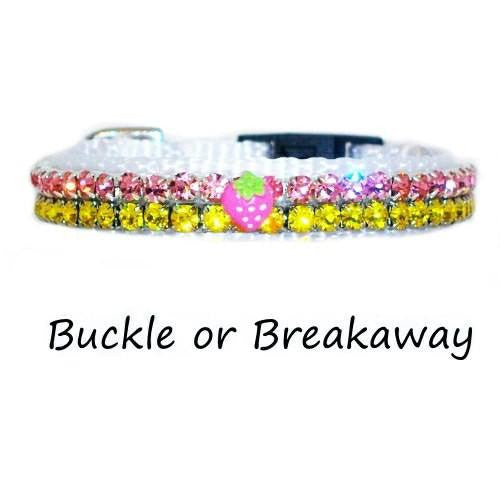 This cute strawberry decorated crystal pet collar is for small dogs and cats.