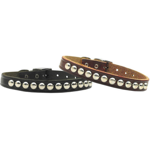 Studded Leather Pet Collar in Black or Burgundy