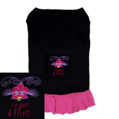 An embroidered dog dress in hot pink and black for girl dogs who love to flirt.