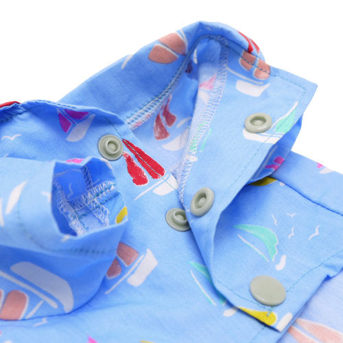 Sailor boy dog shirt snap closure close up