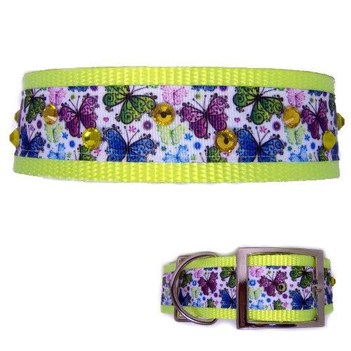 Our butterflies printed large dog collar has yellow crystals scattered for bling.