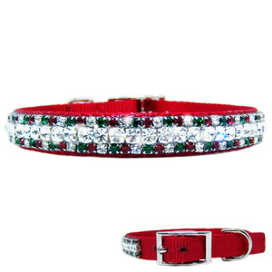 Swarovski Christmas dog collar with ruby emerald and clear crystals.