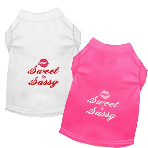 Sweet and Sassy embroidered dog shirts in white or pink.