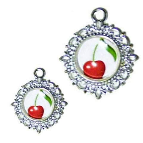 A cute photo pet collar charm with a single adorable red cherry.