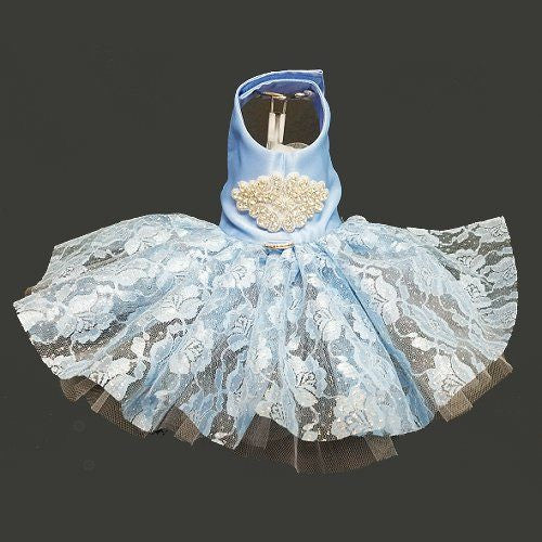 Glitter blue dog dress with crystal embellishments and applique.