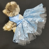 Sweet Glitter Blue Dog Dress - Small to Medium Dogs - dog-collar-fancy