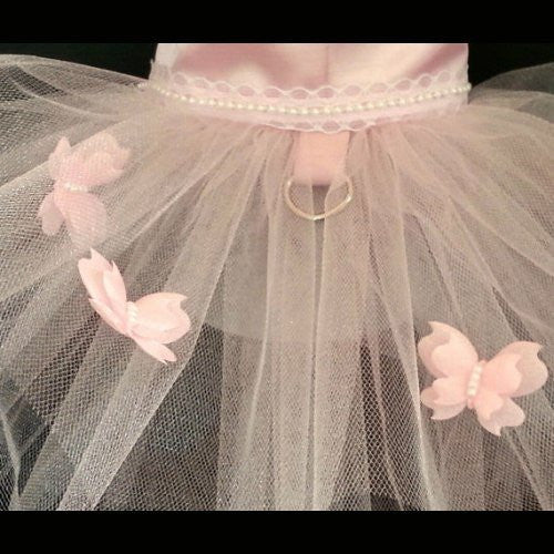 Beautiful 3D pearl embellished butterflies decorates this dog tutu.