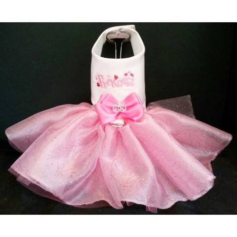 A lovely pink princess dog dress with a tutu style skirt, pink bow and rhinestone crown embellishment.