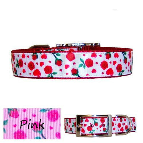 A roses printed dog collar in your choice of red or pink.