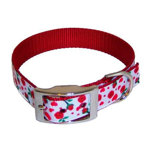 Roses printed dog collar example.