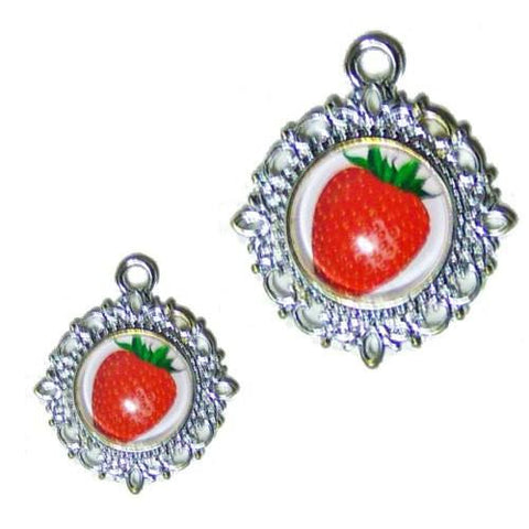 A sweet red strawberry photo pet charm.