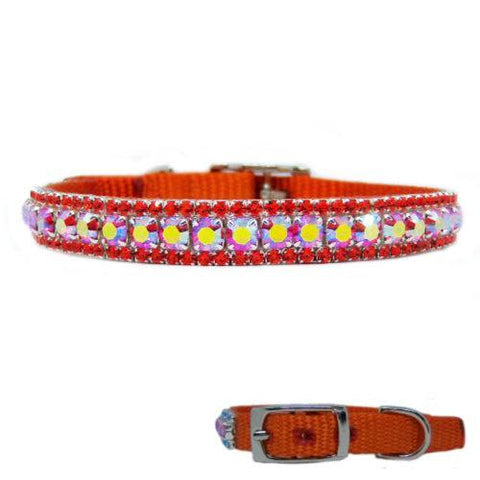 Sweet Tangerine Jeweled Pet Collar - For small dogs and cats - dog-collar-fancy