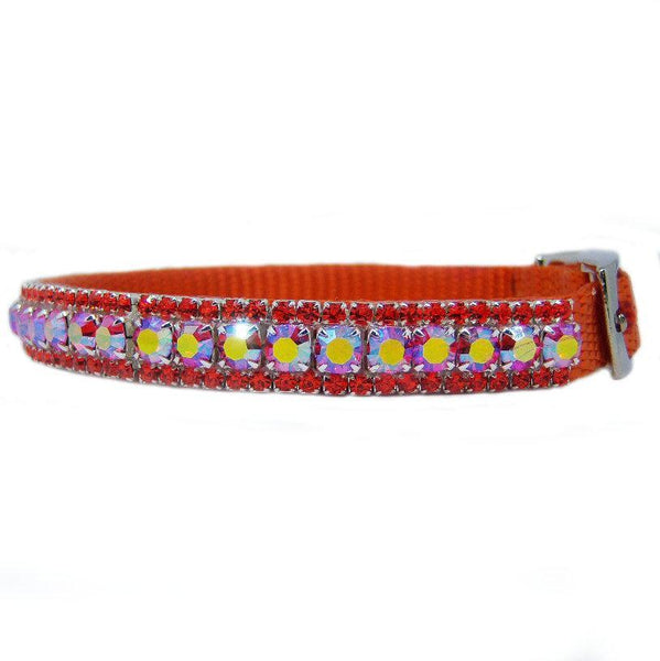 Sweet Tangerine Jeweled Pet Collar side view