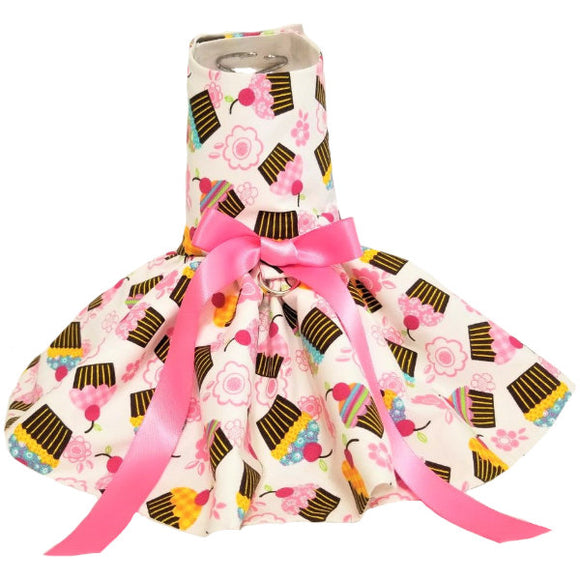 Sweet cupcake print dog dress with bow