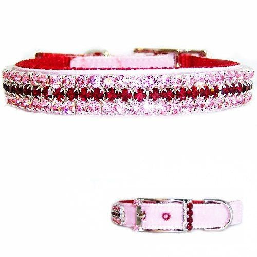 A lovely pink and red crystal velvet pet collar perfect for Valentines Day.
