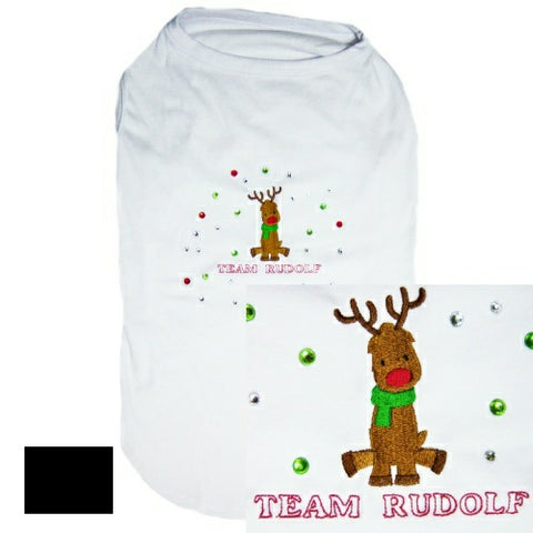 Team Rudolf embroidered Christmas dog shirt
