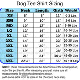 dog tee shirt sizing