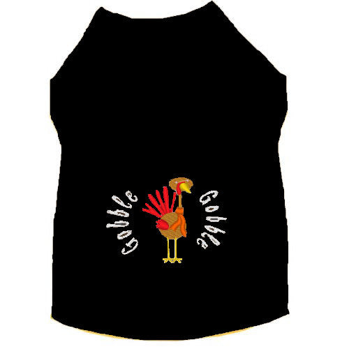 Thanksgiving dog shirt with turkey and words Gobble Gobble embroidered.