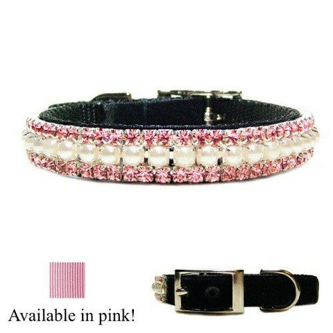 Pearl and crystal pet collar for dogs and cats in pink or black.
